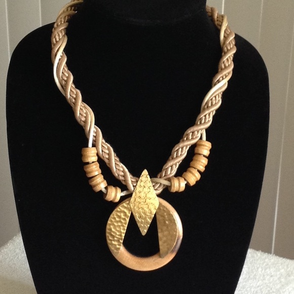 Macrame, Wood & Gold Plate Choker Necklace